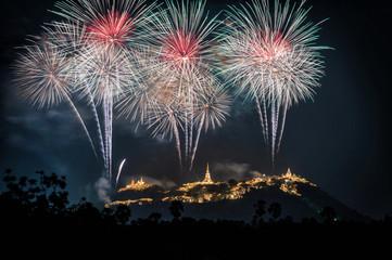 Fireworks show over Phra Nakhon Khiri Historical Park (Khao Wang), Petchaburi, Thailand.