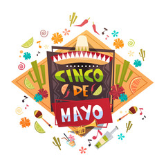Cinco De Mayo Mexican Holiday Greeting Card Decoration Poster Design Flat Vector Illustration