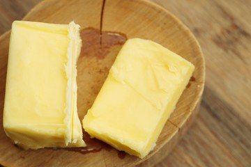 Cubes melted yellow butter