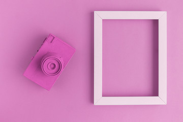 Flat lay of rose vintage camera and photo frame background
