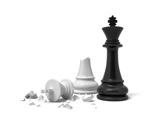 3d rendering of a black chess king standing near a white king figure broken in half.