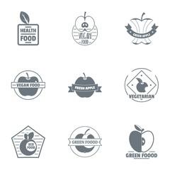 Vegan food logo set. Simple set of 9 vegan food vector logo for web isolated on white background
