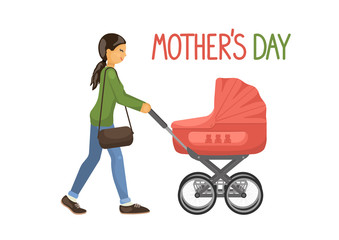 Mother's Day. Mother with baby carriage on white background. Vector illustration.
