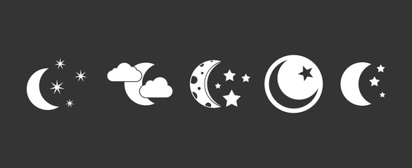 Moon icon set vector white isolated on grey background