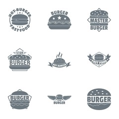 Burger logo set. Simple set of 9 burger vector logo for web isolated on white background