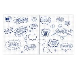 set of hand drawn speech bubbles on a sheet