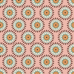 seamless pattern in ethnic style, sun on pink