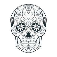sugar skull doodle sketch, coloring page