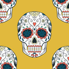 seamless pattern with sugar skull
