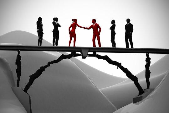 Human bridge merging teams. A bridge made of people helps in the merging of two teams with a handshake.