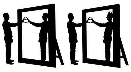Silhouette vector of a narcissist man and a hand gesture of a heart in reflection in a mirror