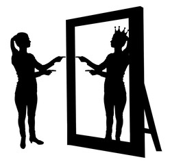 Silhouette vector of a narcissistic woman raises her self-esteem in front of a mirror