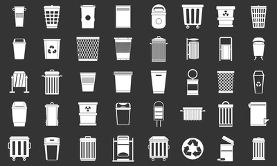 Garbage can icon set vector white isolated on grey background