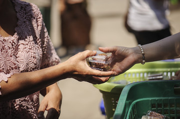 The society of helping to share food to the poor