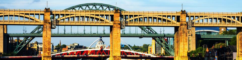 The High Level Bridge in Newcastle upon Tyne, UK, over river Tyne