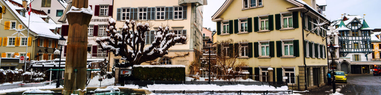 Old part of St Gallen, Switzerland during the snowy winter.