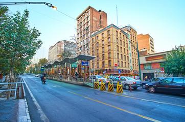 The Vali Asr Avenue in Tehran, Iran