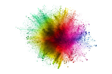 Multi color powder explosion isolated on white background. Color dust splash cloud on white background. Launched colorful particles on background.