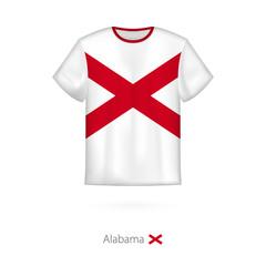 T-shirt design with flag of Alabama U.S. state.