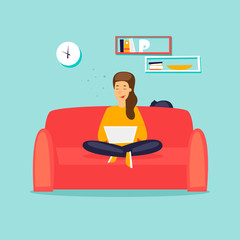 Girl freelancer working on the couch. Flat design vector illustration.