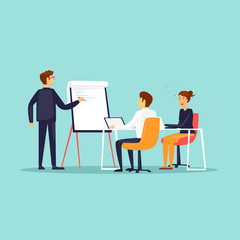 Obraz Business training, Courses, office life, meeting. Flat design vector illustration. - fototapety do salonu