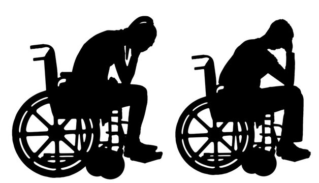 Silhouette vector of a sad disabled woman and man in a wheelchair crying