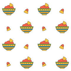 cute cartoon mexican food seamless vector pattern background illustration