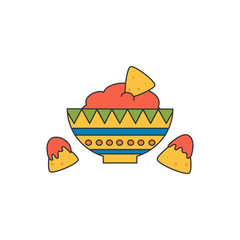 cute cartoon vector illustration with mexican food with nachos and salsa