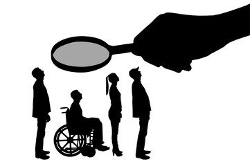 Vector silhouette employer's hand looks through the magnifying glass to an invalid in a wheelchair waiting for an interview for work