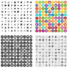100 energy icons set vector in 4 variant for any web design isolated on white