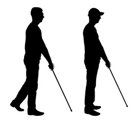 Vector silhouette of a blind disabled man with a cane in his hand