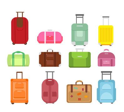 Vector illustration set of different types bags for travel isolated on white background, suitcase journey trip and case voyage baggage leather handbag many colors and shapes in flat cartoon style.