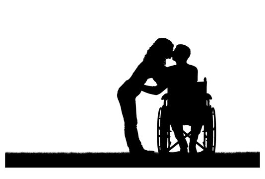 Vector silhouette of a disabled man in a wheelchair and his wife who is kissing