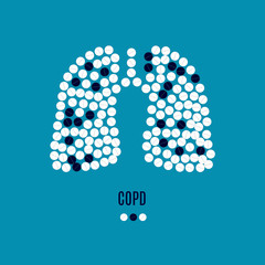 COPD awareness poster with lungs made of pills on blue background. Chronic obstructive pulmonary disease symbol. Medical solidarity concept. Human body organ anatomy icon. Vector illustration.