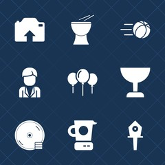 Premium set with fill icons. Such as football, birthday, concert, flying, kitchen, house, ball, nest, goal, spring, cooking, music, cd, search, birdhouse, kick, disk, sport, male, celebration, photo