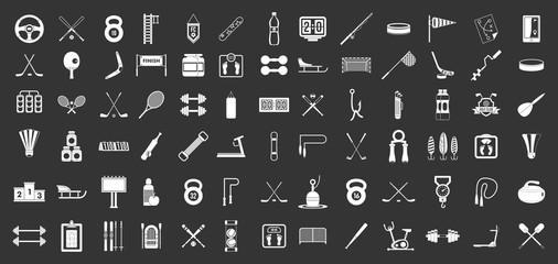 Sport equipment icon set vector white isolated on grey background