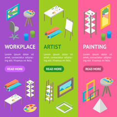 Artist Workplace Interior with Furniture Banner Vecrtical Set Isometric View. Vector