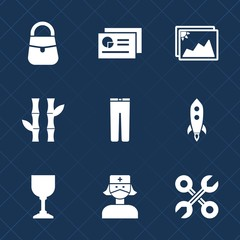 Premium set with fill icons. Such as launch, photography, document, clothing, business, repair, report, pants, old, paper, female, rocket, blank, accessory, fashion, bamboo, clothes, industrial, image