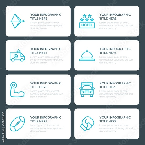 flat transports hotel sports infographic timeline template for