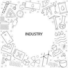 Industry background from line icon. Linear vector pattern