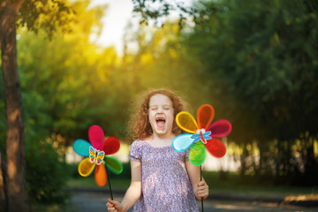 Happy child leisure in summer outdoor.