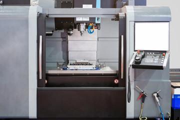 High precision CNC machining center working, operator machining die metal mold process