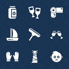 Premium set with fill icons. Such as sea, glass, lighthouse, travel, sail, wineglass, brush, kid, photo, roller, cute, sailboat, child, sweet, camera, vacation, ocean, equipment, wine, wind, container