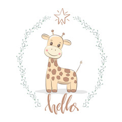 """Cute vector illustration with girafe baby for baby wear and invitation card with phrase """"Hello""""."""