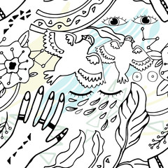 Pattern Peace Hand-Drawn Illustration Background. Doodle sketch.