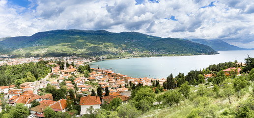 Printed kitchen splashbacks City on the water Panoramic view on new town city of Ohrid in Macedonia. Ohrid and Lake Ohrid were accepted as Cultural and Natural World Heritage Sites by UNESCO