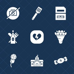Premium set with fill icons. Such as document, love, computer, white, wine, kitchen, data, cooking, file, water, music, camera, drink, pan, photo, blue, sign, picture, city, pot, decoration, heart, no
