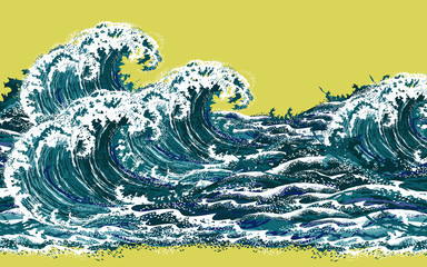 Sea waves. Hand drawn realistic vector illustration in oriental vintage ukiyo-e style.