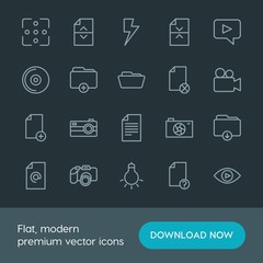 Modern Simple Set of folder, video, photos, files Vector outline Icons. Contains such Icons as  light,  cinema, background,  concept,  icon and more on dark background. Fully Editable. Pixel Perfect.