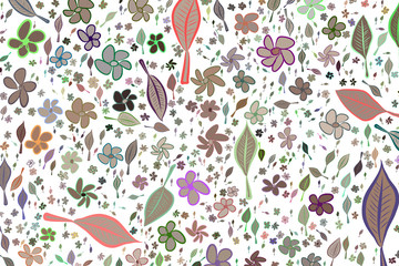 Illustrations of leaves & flowers. Art, drawing, style & effect.